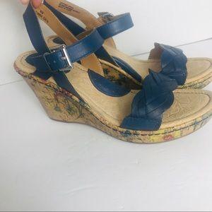 boc Shoes - BOC Leather Cork Floral Blue Wedges Size 8